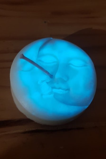 bougie lune phosphorescente