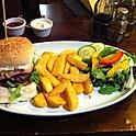 Hamburger with Cheese Chips & Salad
