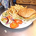 Chicken Burger, Chips & Salad
