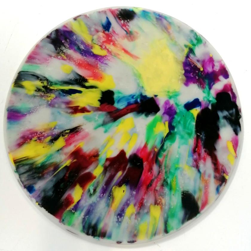 Multicoloured impact splash
