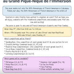 Le Grand Pique Nique: Celebrating 30 years of immersion in Calcasieu!!