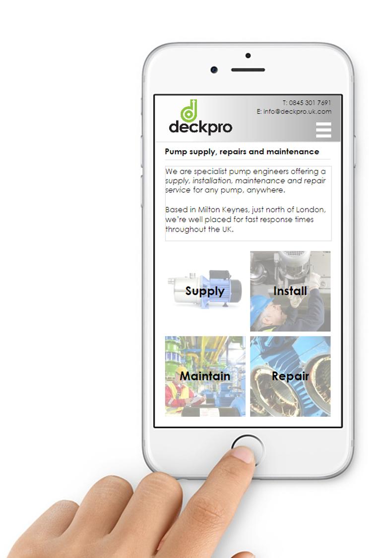 Mobile-optimised pump website