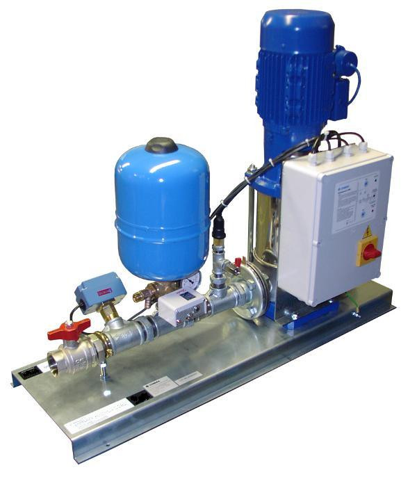 Single pump booster set with valves