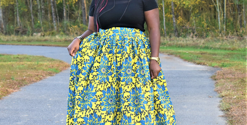 Ready to Ship: African Print Maxi Skirt: Arike- Yellow