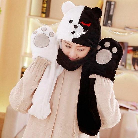 Danganronpa Monokuma Scarf Glove Hat Three in one!