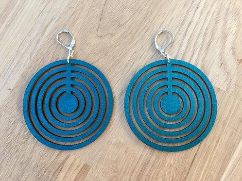 """Boucles d'oreilles géométriques en bois """"ATSU"""" bleu"""