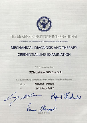 Certyfikat The McKenzie Institute International