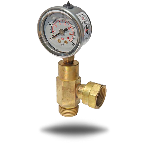 GasBOAT 4107 0-14bar Pressure Gauge with Elbow Union