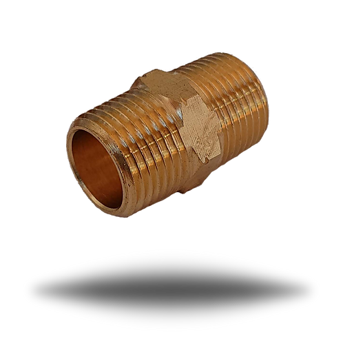 7003 Brass Hexagon Reducing Nipple 3/8 NPT - 3/8 BSPT