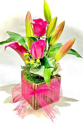Pink Rose & Tulips Arrangment.jpeg