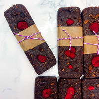 raspberry brownie energy bars