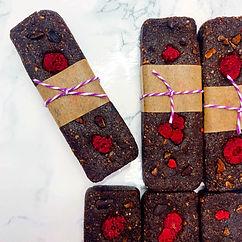 raspberry brownie energy bars