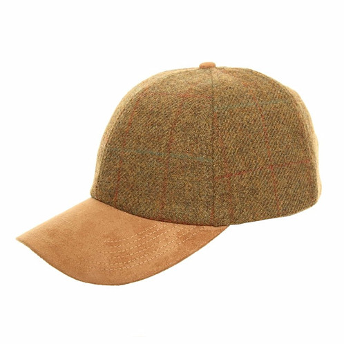 ed425ad9acb3bf Adult unisex tweed baseball hat with faux suede peak. Cream tweed with red  and brown thin check. Adjustable at the back with brass styled clip.