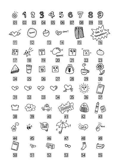 可愛いプチイラストの手書き見本画像