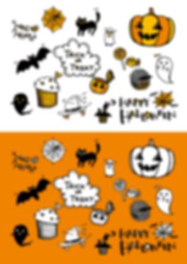 ハロウィン用手書きイラスト素材おばけ魔女かぼちゃ。 Halloween illustration hand drawn.