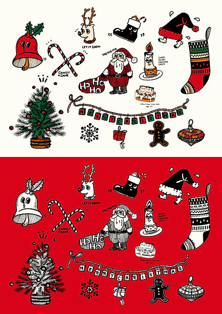 クリスマス用手書きイラスト素材サンタクロースとトナカイとクリスマスツリー。 Christmas illustration hand drawn.