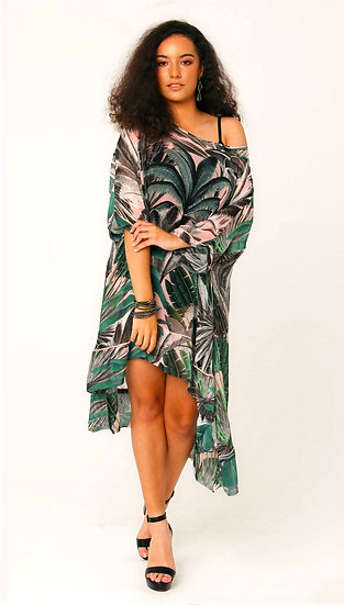 Etta Silk Georgette Tunic in Blushing Palms Print