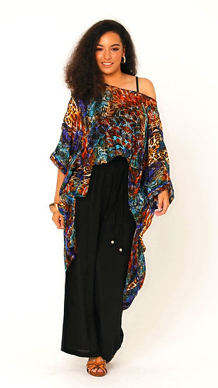 Aretha Silk Crepe Palazzo Pant in Solid Black