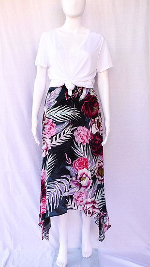 Dusty Silk Crepe Skirt in Purple Reign Print