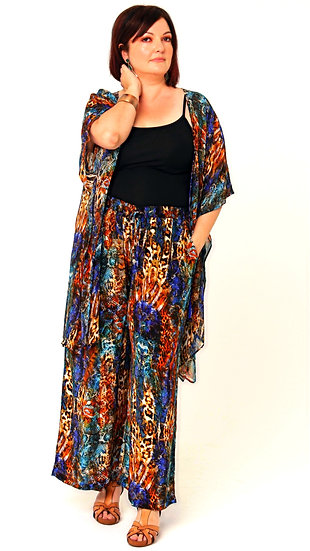 Aretha Silk Crepe Palazzo Pant In Electric Leopard Print