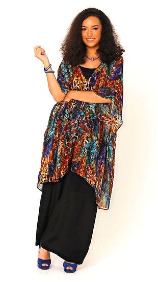 Chaka Silk Georgette Jacket In Electric Leopard Print