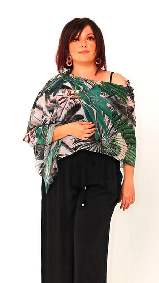 Lana Silk Georgette Scarong in Blushing Palms Print