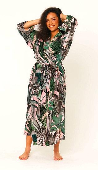 Nina Silk Crepe Robe in Blushing Palms Print