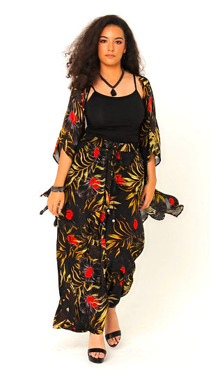 Aretha Silk Crepe Palazzo Pant In The Night Garden Print