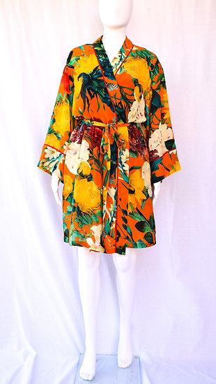 Thelma Short Silk Crepe Robe