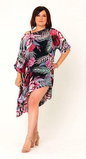 Etta Silk Georgette Tunic in Purple Reign Print