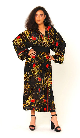 Nina Silk Crepe Robe In The Night Garden Print
