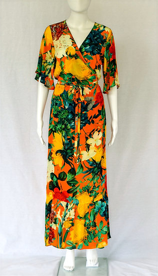 Roberta Wrap Dress in Orange Blossom Print