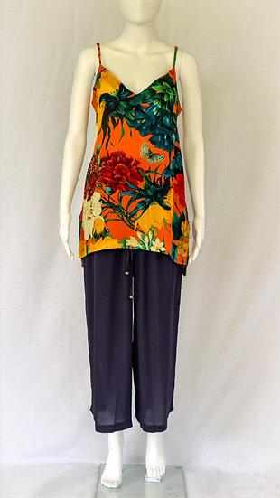 Patti Long Line Camisole In Orange Blossom Print