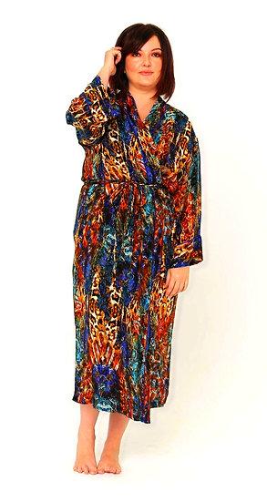 Nina Silk Crepe Robe in Electric Leopard Print