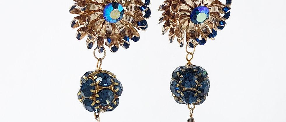 Blue Soleil Clip Earrings