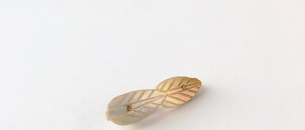 Vintage Carved Mother of Pearl Double Leaf hair clip