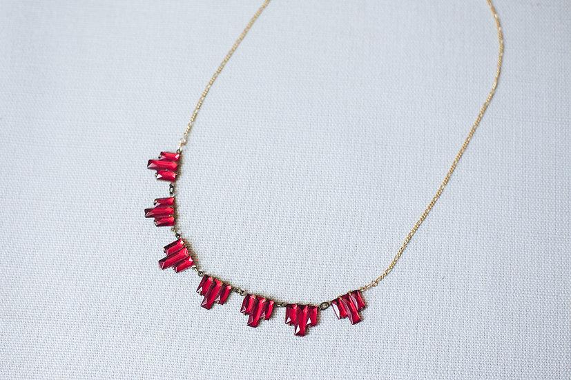 Little Red Art Deco Flag Necklace
