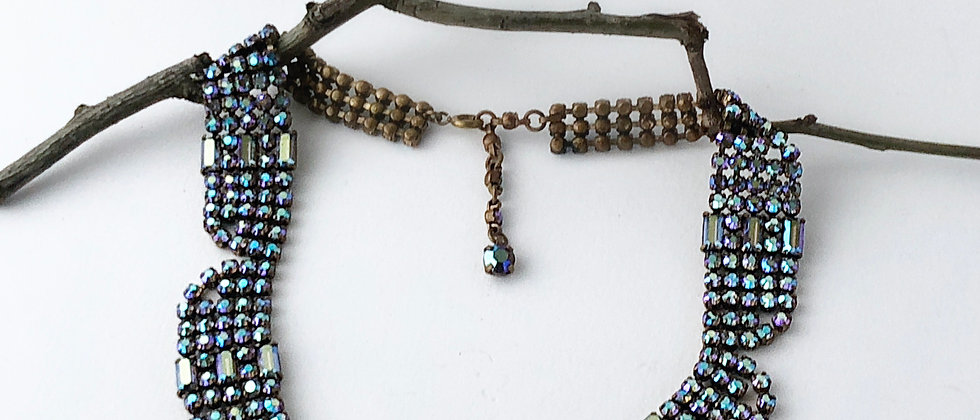 Petrol Blue Aurora Borealis Rhinestone collar necklace