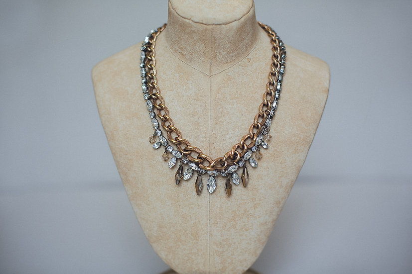 Mixed Metal Textured Chain Necklace