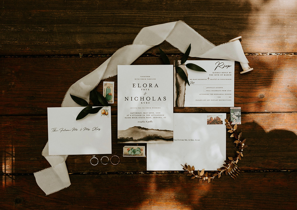 Sedona May wedding flat lay stationery and Agnes Walker headpiece