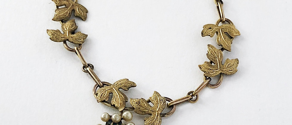 Edwardian Pearl and Leafy Vine necklace
