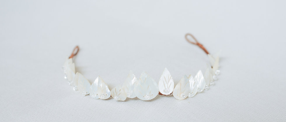 Antique Mother of Pearl Leaf Diadem