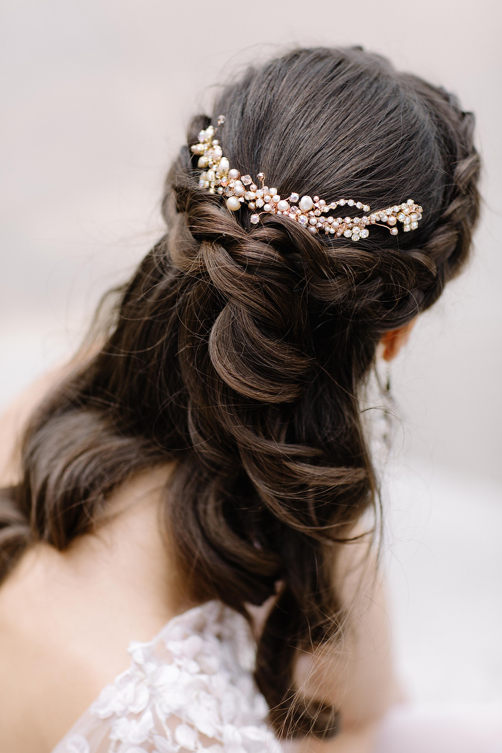 crown braid; jewelled headpiece; bridal hair.