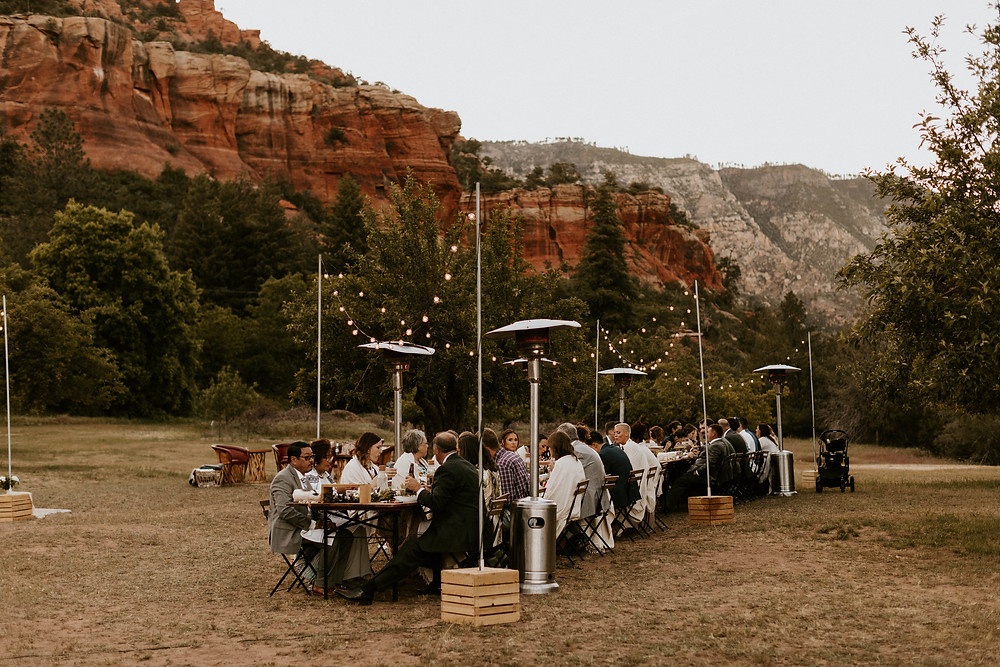 Sedona May wedding outside dining Cloth and Flame