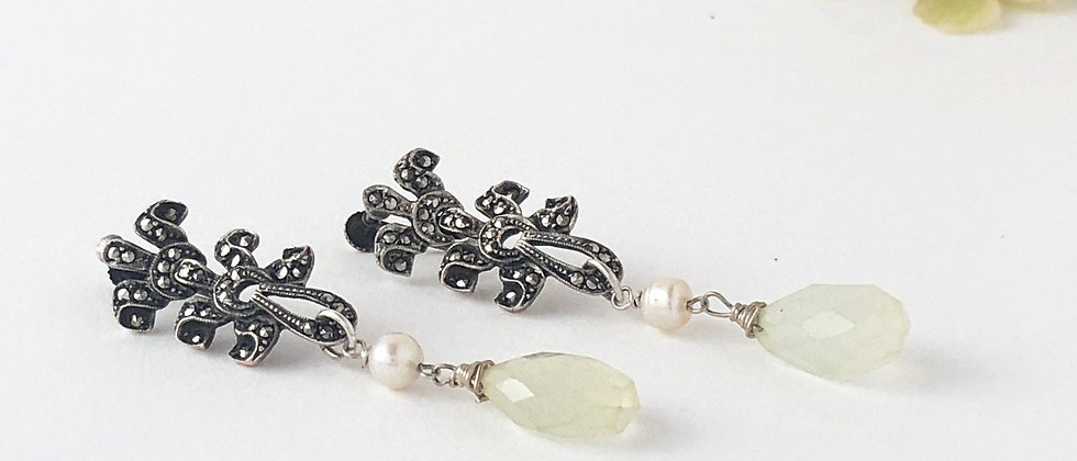 Vintage marcasite, freshwater pearl and chrysoprase Earrings