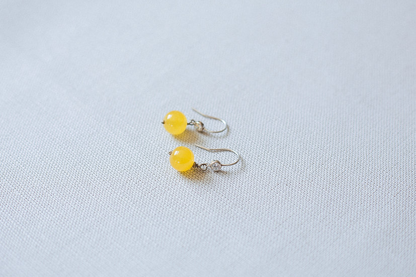 Sunshine Yellow Bead Drop Earrings
