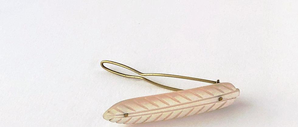 Vintage Carved Mother of Pearl leaf hair clip