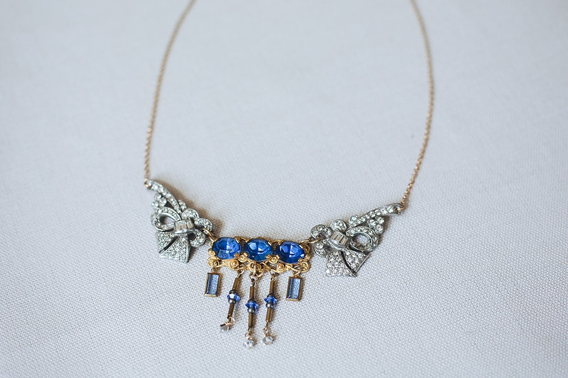 Cobalt Blue and Deco Paste Bib Necklace