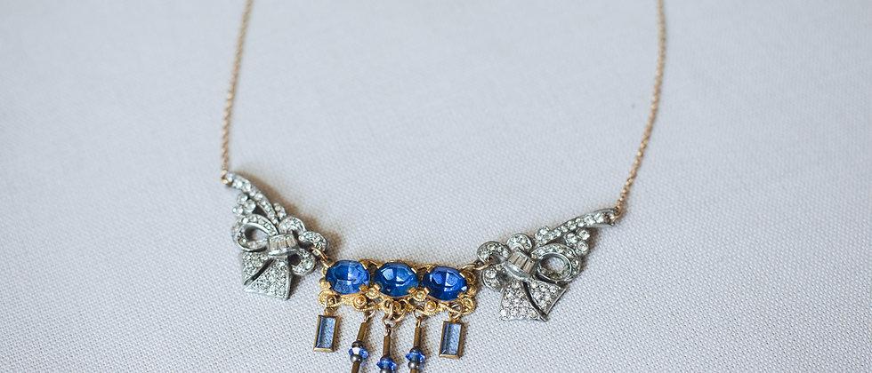 Cobalt Blue and Deco Paste Bib Necklace
