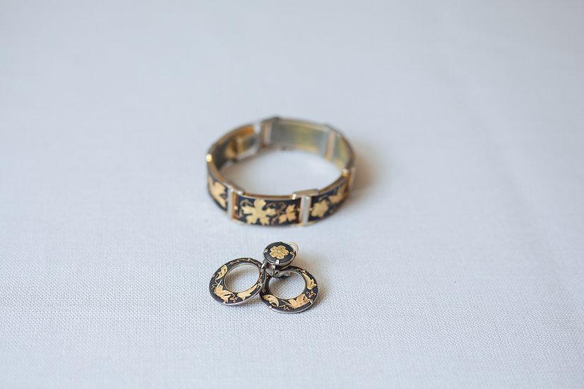 Black enamelled Niello Bracelet and Earrings set